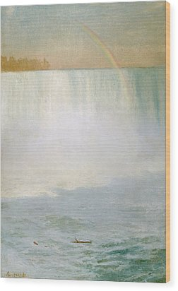 Waterfall And Rainbow At Niagara Falls Wood Print by Albert Bierstadt