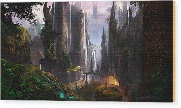 Waterfall Celtic Ruins Wood Print by Alex Ruiz