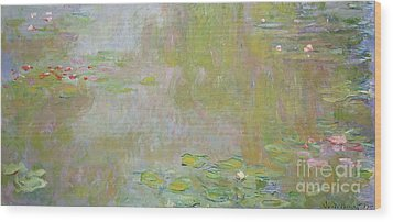 Waterlilies At Giverny Wood Print by Claude Monet
