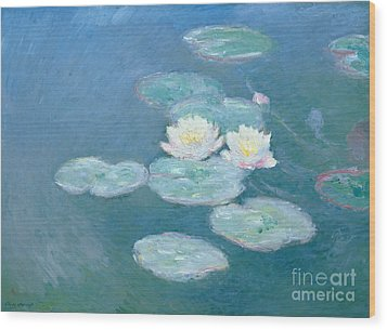 Waterlilies Evening Wood Print by Claude Monet