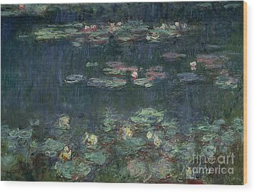Waterlilies Green Reflections Wood Print by Claude Monet