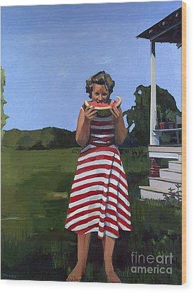 Watermelon Eater Wood Print by Deb Putnam
