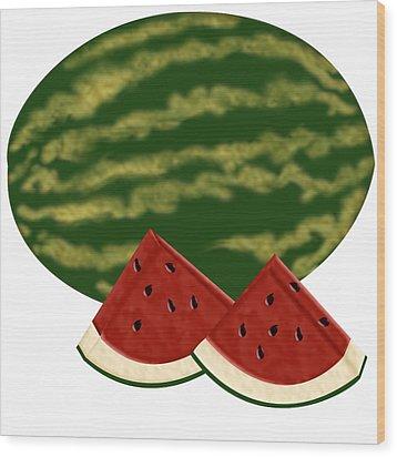Watermelon Time Wood Print by Melissa Stinson-Borg
