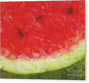 Watermelon With Three Seeds Wood Print by Wingsdomain Art and Photography