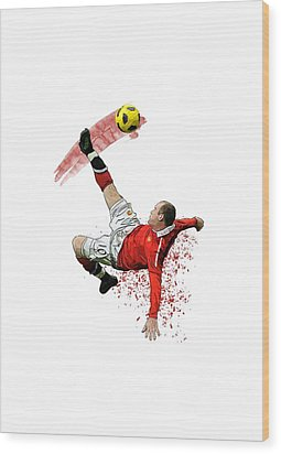 Wayne Rooney Wood Print by Armaan Sandhu