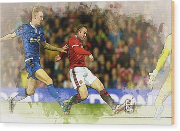 Wayne Rooney Of Manchester United Scores Wood Print by Don Kuing