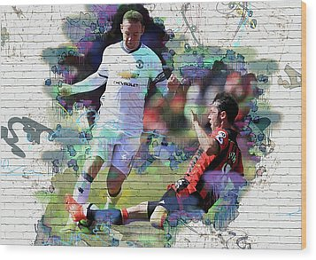 Wayne Rooney Street Art Wood Print by Don Kuing