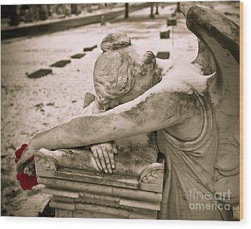 Weeping Angel In Winter Wood Print by Sonja Quintero