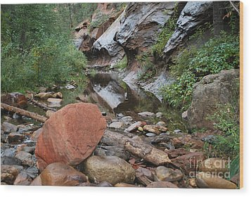 West Fork Trail River And Rock Horizontal Wood Print by Heather Kirk