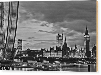 Westminster Black And White Wood Print by Dawn OConnor