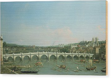 Westminster Bridge From The North With Lambeth Palace In Distance Wood Print by Canaletto