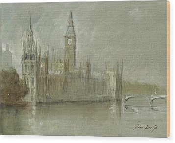 Westminster Palace And Big Ben London Wood Print by Juan Bosco