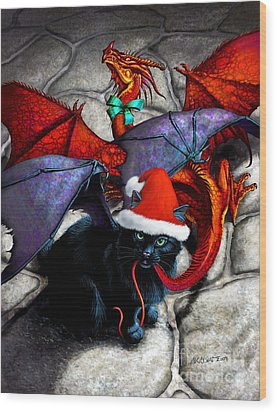 What The Catabat Dragged In For Christmas  Card Wood Print by Stanley Morrison