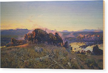 When The Land Belonged To God Wood Print by Charles Russell