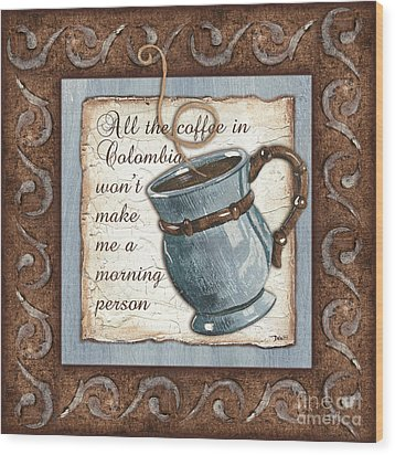 Whimsical Coffee 1 Wood Print by Debbie DeWitt