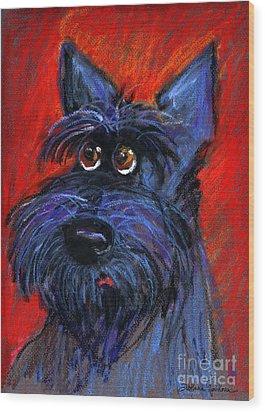 whimsical Schnauzer dog painting Wood Print by Svetlana Novikova