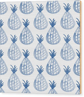 White And Blue Pineapple Party Wood Print by Linda Woods