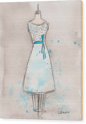 White And Teal Dress Wood Print by Lauren Maurer