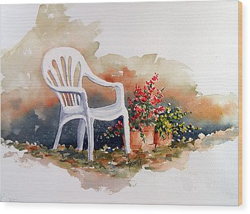 White Chair With Flower Pots Wood Print by Sam Sidders