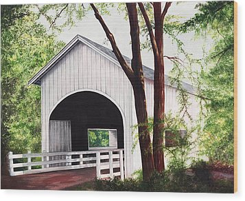 White Covered Bridge Wood Print by Yvonne Hazelton