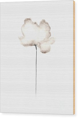 White Flower Minimalist Painting Wood Print by Joanna Szmerdt