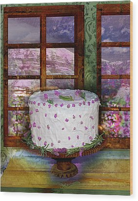 White Frosted Cake Wood Print by Mary Ogle and Miki Klocke