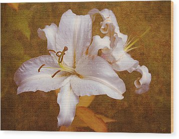 White Lilies. Time To Be Romantic Wood Print by Jenny Rainbow