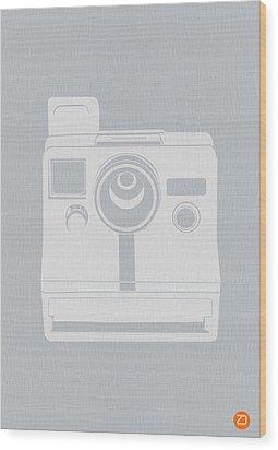 White Polaroid Camera Wood Print by Naxart Studio