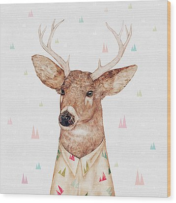 White Tailed Deer Square Wood Print by Animal Crew