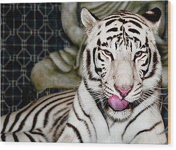 White Tiger Wood Print by Jim DeLillo