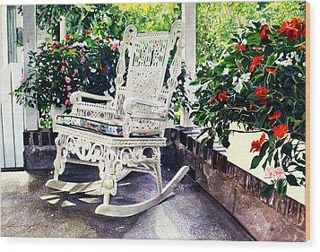 White Wicker - Stockbridge Ma Wood Print by David Lloyd Glover