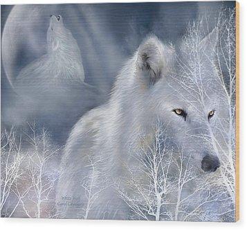 White Wolf Wood Print by Carol Cavalaris