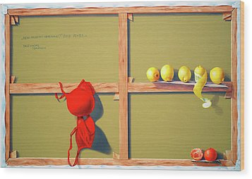 Whose Red Bra. Wood Print by Tautvydas Davainis