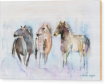 Wild And Free Wood Print by Arline Wagner