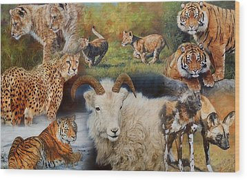 Wildlife Collage Wood Print by David Stribbling