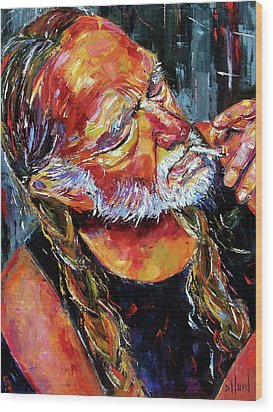 Willie Nelson Booger Red Wood Print by Debra Hurd