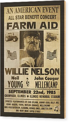 Willie Nelson Neil Young 1985 Farm Aid Poster Wood Print by John Stephens