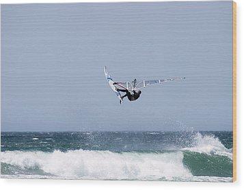 Windsurfer Jumping Waves At Jalama Wood Print by Rich Reid