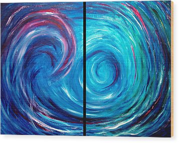 Windswept Blue Wave And Whirlpool 2 Wood Print by Nancy Mueller