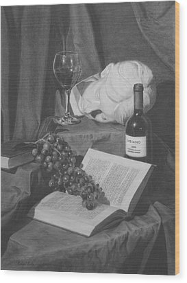 Wine And A Book Wood Print by Michael Malta