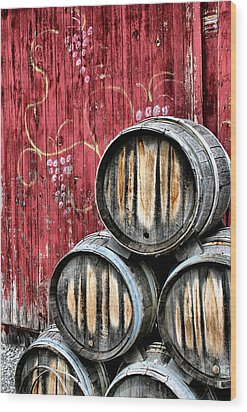 Wine Barrels Wood Print by Doug Hockman Photography