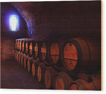 Wine Barrels In Napa Wood Print by Brian M Lumley