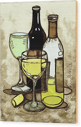 Wine Bottles And Glasses Wood Print by Peggy Wilson