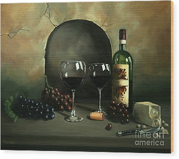 Wine For Two Wood Print by Paul Walsh