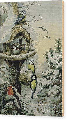 Winter Bird Table With Blue Tits Wood Print by Carl Donner