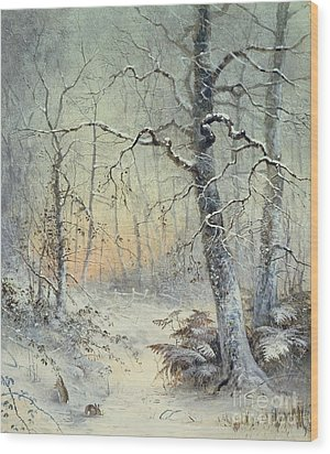 Winter Breakfast Wood Print by Joseph Farquharson
