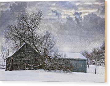 Winter Farm Wood Print by Steve Harrington