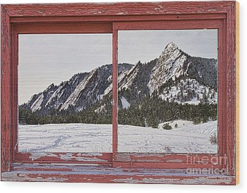 Winter Flatirons Boulder Colorado Red Barn Picture Window Frame  Wood Print by James BO  Insogna