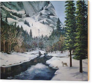 Winter Half Dome Wood Print by Beverly Johnson