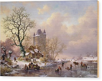 Winter Landscape With Castle Wood Print by Frederick Marianus Kruseman